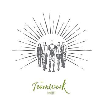 Teamwork-illustration in der hand gezeichnet
