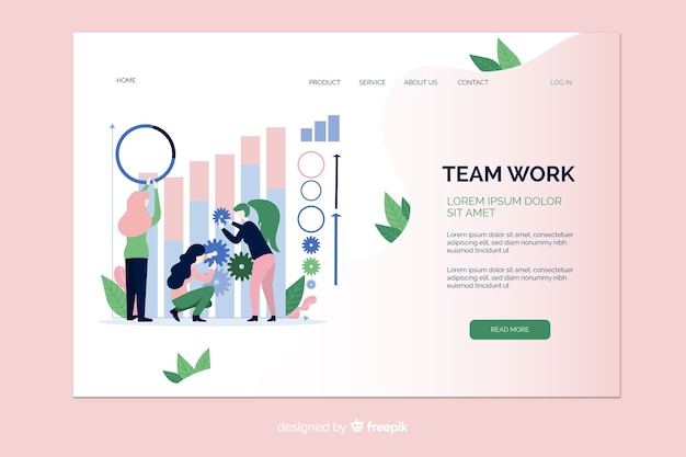 Teamwork illustration landing page