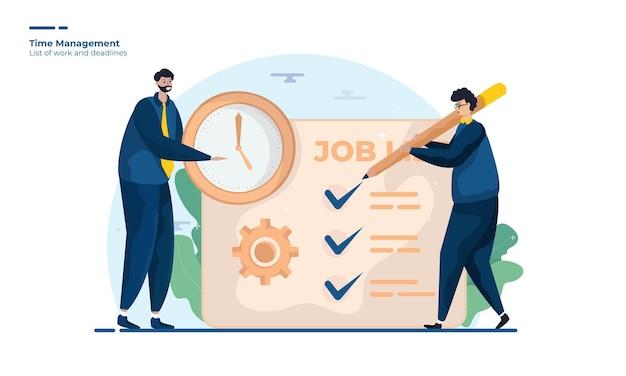 Teamwork-illustration mit zeitmanagement