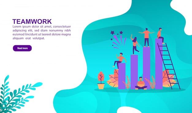 Teamwork-illustrationskonzept mit charakter. zielseitenvorlage