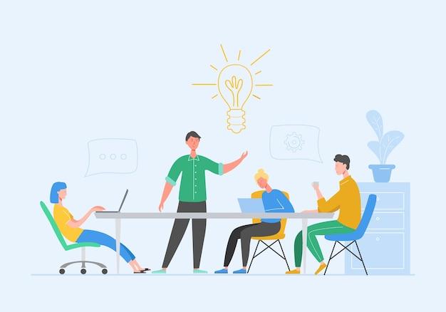 Teamwork-konzept für geschäftstreffen. geschäftsmann und frau charaktere mit laptop. kollegen charaktere, die brainstorming kommunizieren, diskussionsidee. flache karikaturillustration