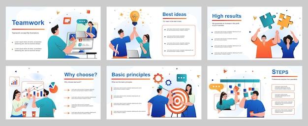 Teamwork-konzept für präsentationsfolienvorlage menschen arbeiten zusammen, generieren ideen, diskutieren