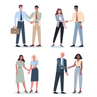 Teamwork-konzept. geschäftsleute händeschütteln. idee von geschäftsleuten, die zusammenarbeiten und sich dem erfolg nähern. partnerschaft und zusammenarbeit. flache abstrakte vektorillustration