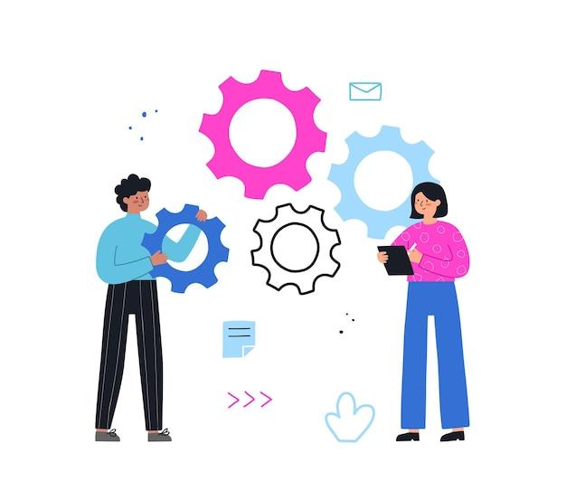 Teamwork-konzept. geschäftsleute starten einen mechanismus, verbinden zahnräder. handgezeichnete vektor-illustration flachen stil. symbol der zusammenarbeit, partnerschaft.