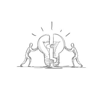 Teamwork-konzept-hand gezeichnete geschäftsleute brainstom light bubl new idea symbol