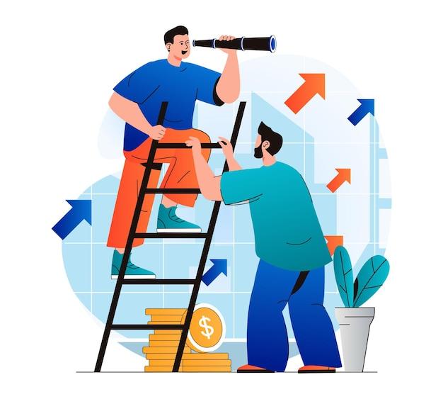Teamwork-konzept in modernem flat-design kollegen arbeiten gemeinsam an projektzusammenarbeit