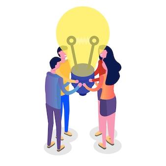Teamwork-konzept isometrisch, menschen arbeiten zusammen, business-team-lösung. illustration.
