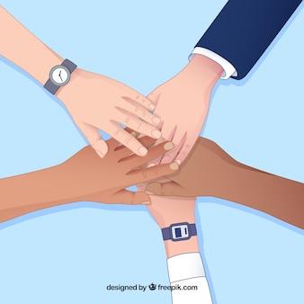 Teamwork-konzept mit den händen