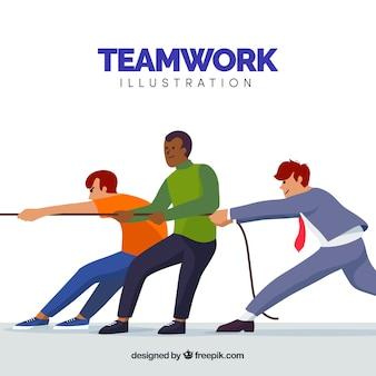 Teamwork-konzept mit den personen, die auf seil ziehen