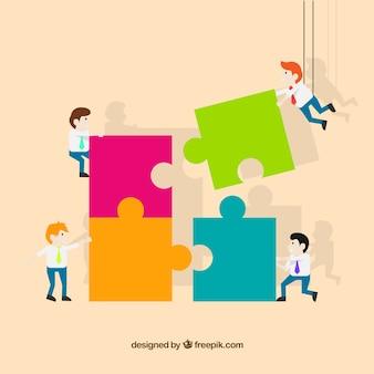 Teamwork-konzept mit laubsäge