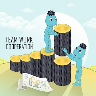 Teamwork-konzept mit liebenswerten charakteren, die sich im linienstil gegenseitig helfen