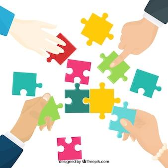 Teamwork-konzept mit puzzleteilen