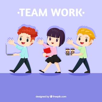 Teamwork-konzept mit reizenden charakteren