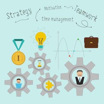 Teamwork-konzept mit zahnrädern. vektor-illustration