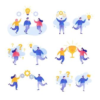 Teamwork-konzept satz von menschen, die zusammenarbeiten teamwork-brainstorming-erfolg