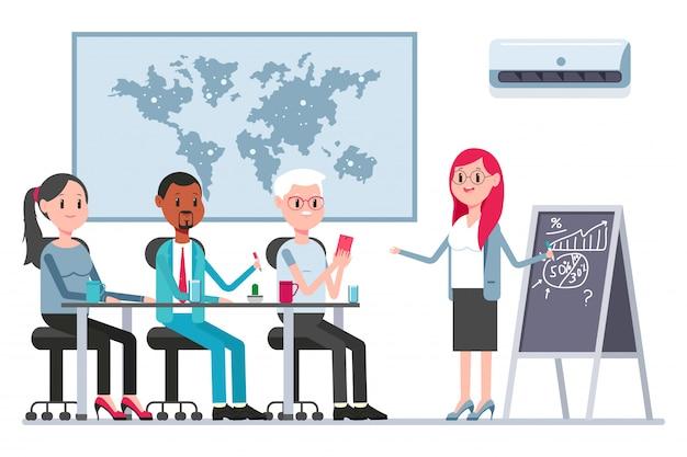 Teamwork-konzeptillustration mit mitarbeitern und frauenchef im sitzungssaal. vektorkarikaturgeschäftspersonenzeichen.