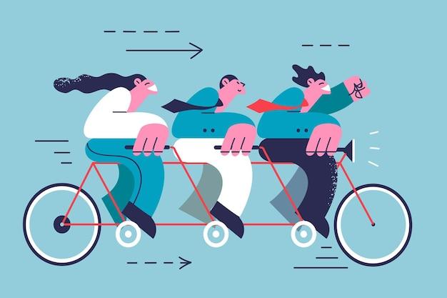 Teamwork, kooperation, erfolg im geschäftskonzept. gruppe junger geschäftspartner, die tandemfahrräder fahren, um gemeinsam ziele zu erreichen