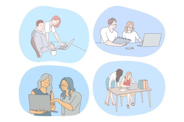 Teamwork, kooperation, startup-konzept. junge büroangestellte kollegen kollegen arbeiten gemeinsam an projekten mit laptops und diskutieren ideen im büro. partnerschaft, zusammenarbeit, unternehmensgruppe