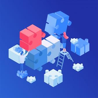 Teamwork, kreativer prozess isometrisch