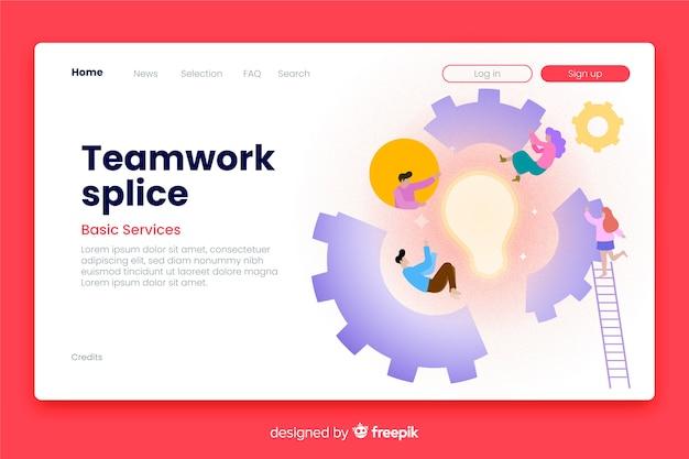 Teamwork landing page geschäftsvorlage