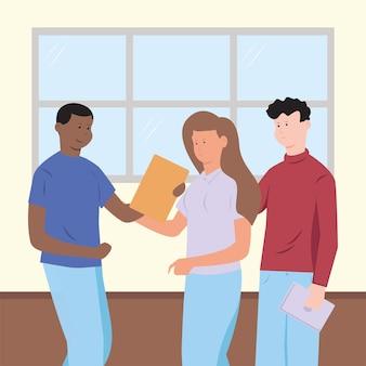 Teamwork leute arbeiten papierkram büro