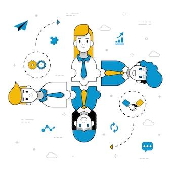 Teamwork-leute-charaktere, die ideen handhaben