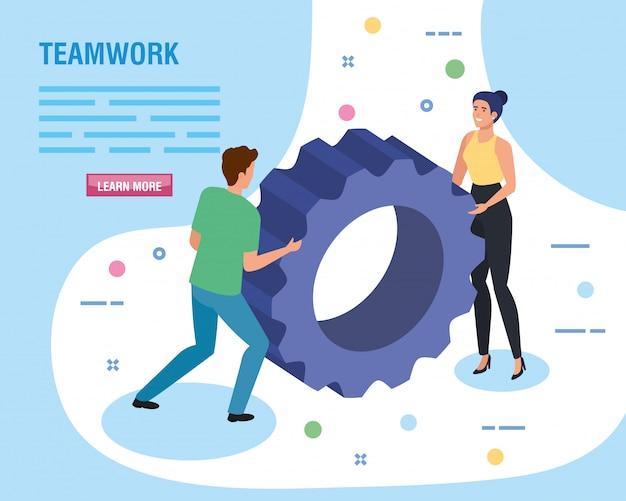 Teamwork-leute mit gangritzelschablone