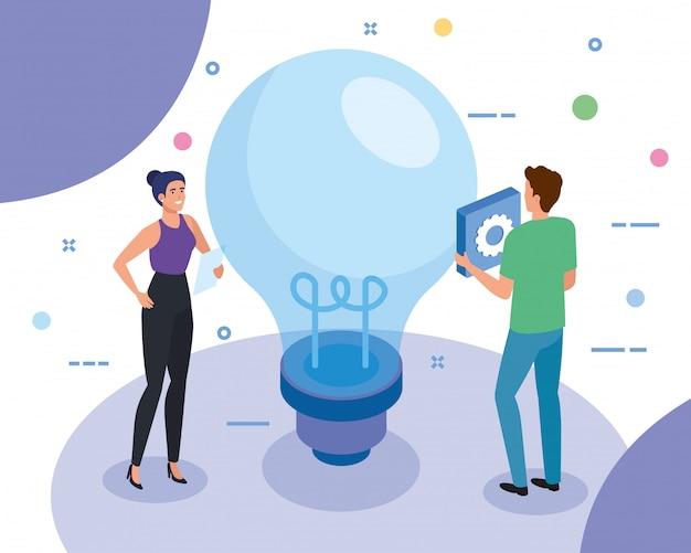 Teamwork-leute mit glühlampe