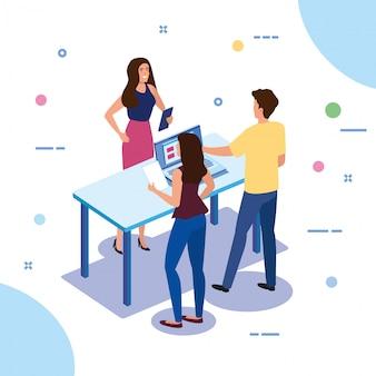 Teamwork-leute mit laptop-computer