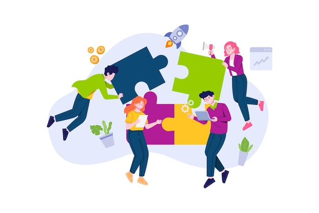Teamwork-leute mit puzzleteil-illustration