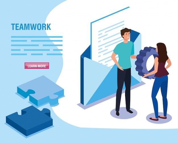 Teamwork-leute mit umschlag und puzzlespiel bessern schablone aus