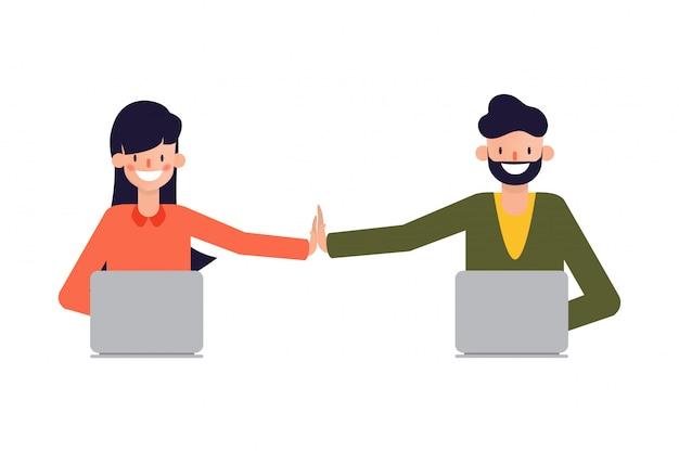 Teamwork menschen arbeiten erfolgreich an.