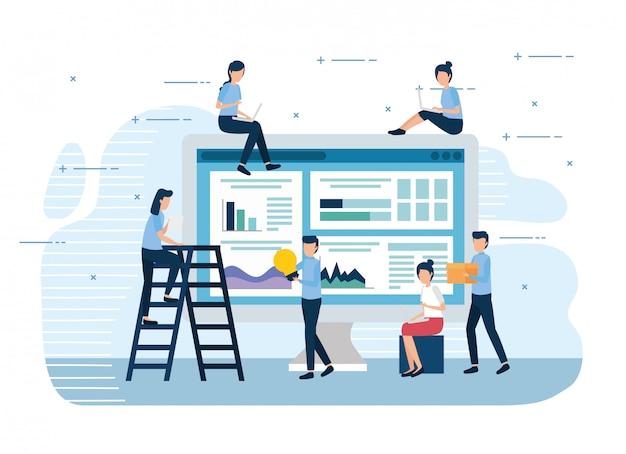 Teamwork-miniarbeiter mit computer und ikonen