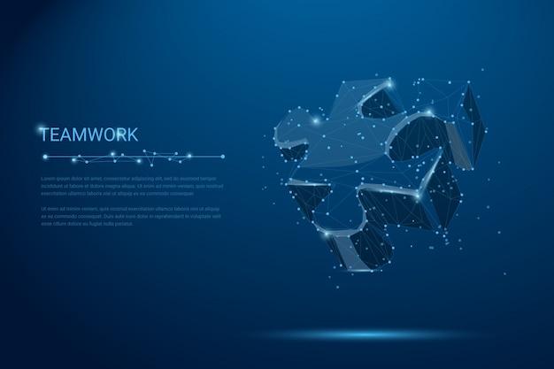 Teamwork-niedriges polywireframekonzept. puzzle-vektorgrafiken.