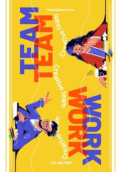 Teamwork-poster mit geschäftsleuten