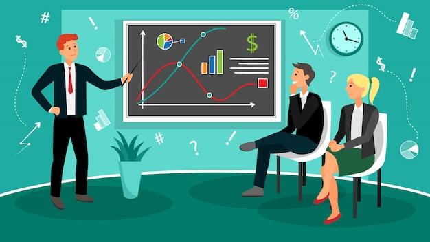 Teamwork-prozess auf coworking-büro mit workflow in der flachen art