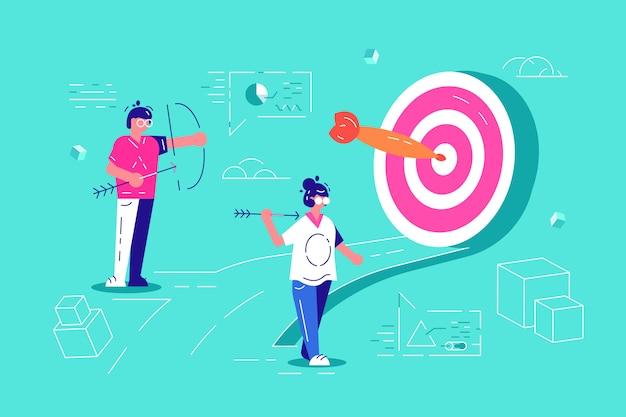 Teamwork schafft organisatorischen erfolg, indem das richtige marketingziel festgelegt wird