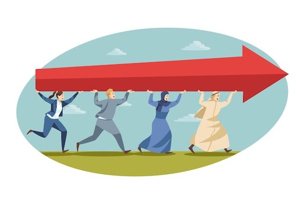 Teamwork, startup, zusammenarbeit, erfolg, geschäftskonzept. das team der arabischen angestellten des muslimischen muslimischen geschäftsmannes, die manager bewegen, die vorwärts gehen und roten pfeil zusammenhalten. erfolgreiche unternehmenszusammenarbeit.