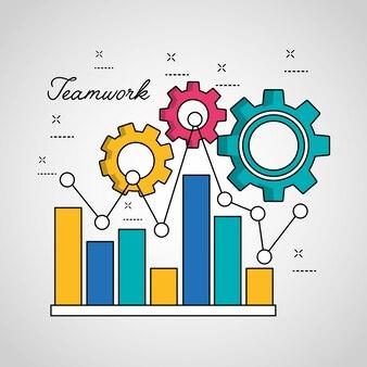 Teamwork statistiken graph bar spitz linie verbindungsgetriebe