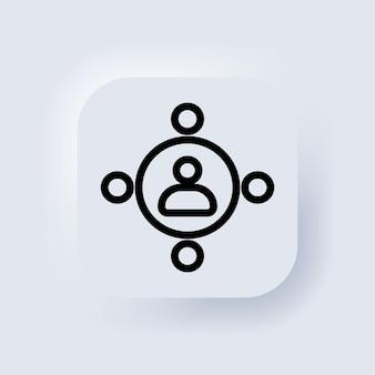 Teamwork-symbol. elemente für mobile konzepte und web-apps. neumorphic ui ux weiße benutzeroberfläche web-schaltfläche. neumorphismus. vektor-eps 10.
