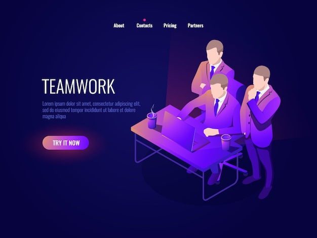 Teamwork-symbol isometrie, kollektive diskussion, projektbesprechung, inbetriebnahme, geschäftsführung