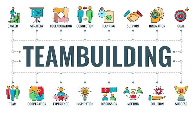 Teamwork teambuilding oder kollaboration horizontales banner mit farbigen liniensymbolen team, ziel, inspiration und karriere. typografie infografiken konzept teamarbeit. isolierte vektorillustration