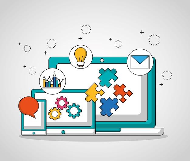 Teamwork technologie geräte getriebe einstellungen