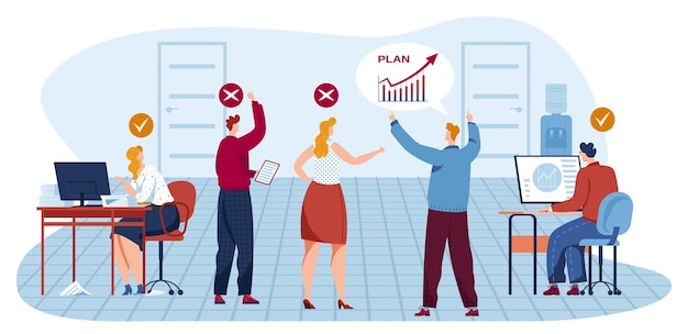 Teamwork-treffen der geschäftsleute im büro, ideenillustration teilen.