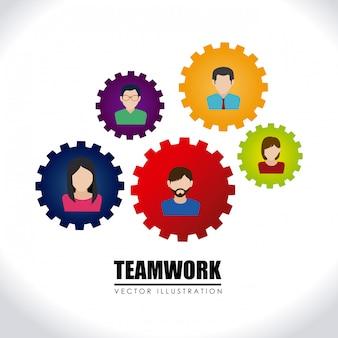 Teamwork über weiß