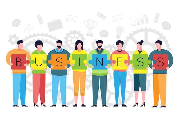 Teamwork und business teambuilding metapher. kollegen setzen puzzles als elemente eines unternehmens und eines erfolgreichen teams zusammen. konzept für coworking, zusammenarbeit und geschäftspartnerschaft.