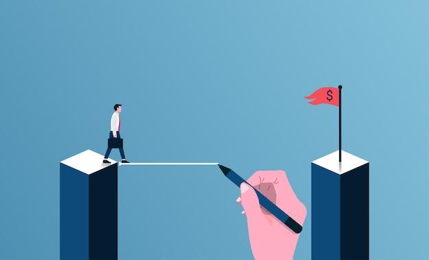 Teamwork- und kooperationskonzept. große hand, die linie zeichnet, um geschäftsmann zu unterstützen.