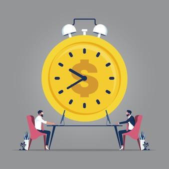 Teamwork- und zeitmanagementkonzept