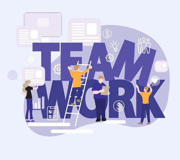 Teamwork unter verwendung der digitalen geräte im modernen büro