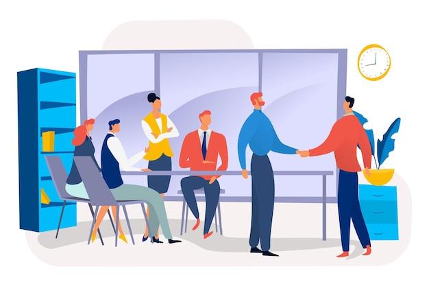 Teamwork-unternehmen treffen entscheidung unterzeichnen jobvertrag